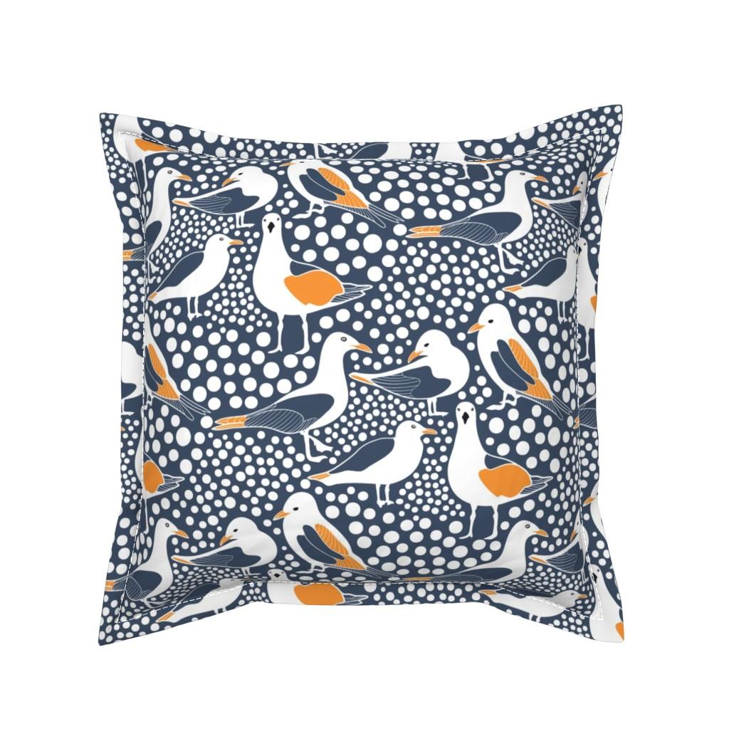 Serama Throw Pillow featuring Sea Birds Navy by kirstenkatz