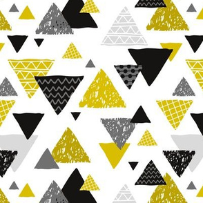 Geometric triangle aztec illustration hand drawn pattern gender neutral ochre