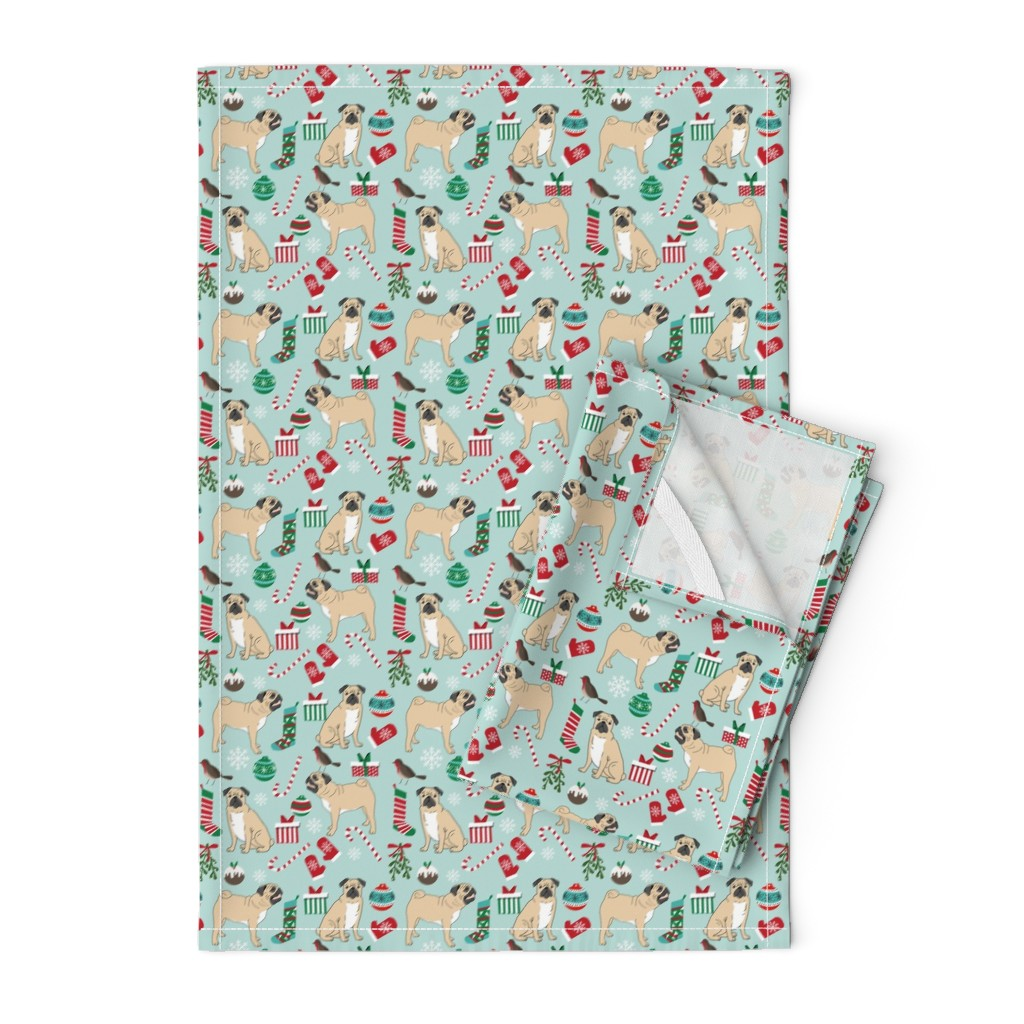 pug christmas fabric cute pugs design on Orpington by