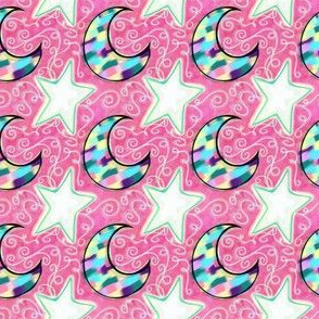 Project 103 | Mosaic Moon and Stars | Pink