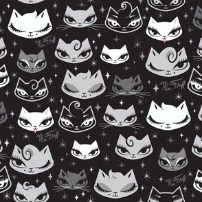 Kitties with Pompadours- Black and White