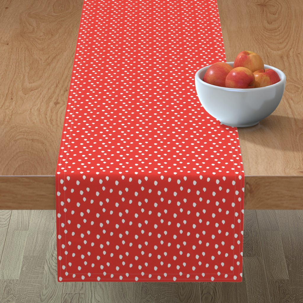 Minorca Table Runner featuring White & Red Animal Print by colettegorgas