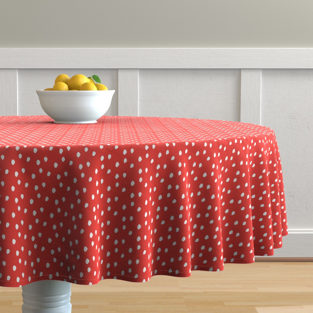 Malay Round Tablecloth featuring White & Red Animal Print by colettegorgas