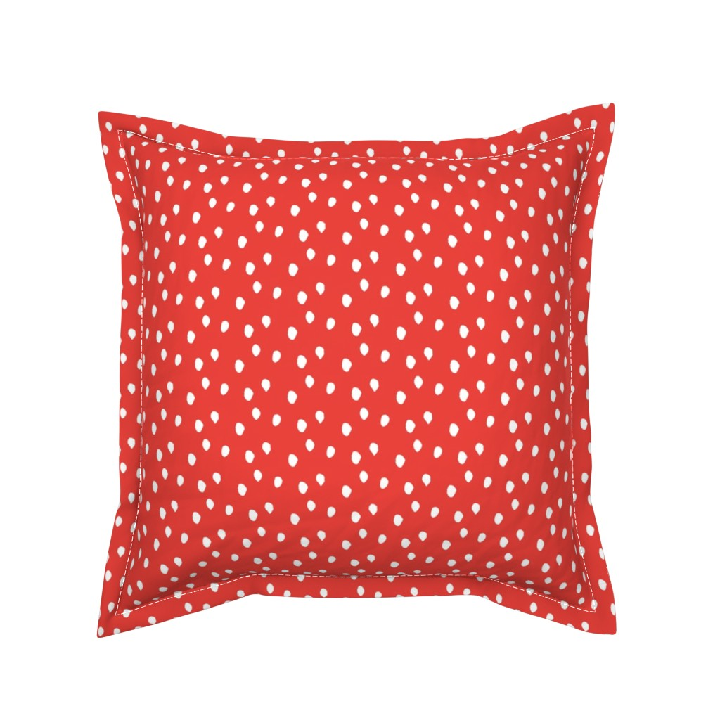 Serama Throw Pillow featuring White & Red Animal Print by colettegorgas