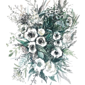 anemones white - original watercolor