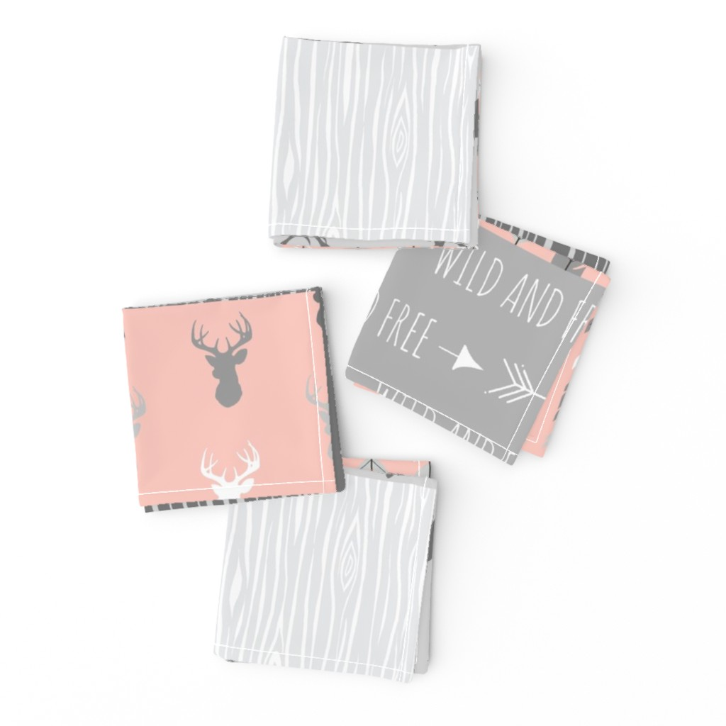 Frizzle Cocktail Napkins featuring Wholecloth Quilt- Coral  and Grey Deer a Patchwork  Squares by sugarpinedesign