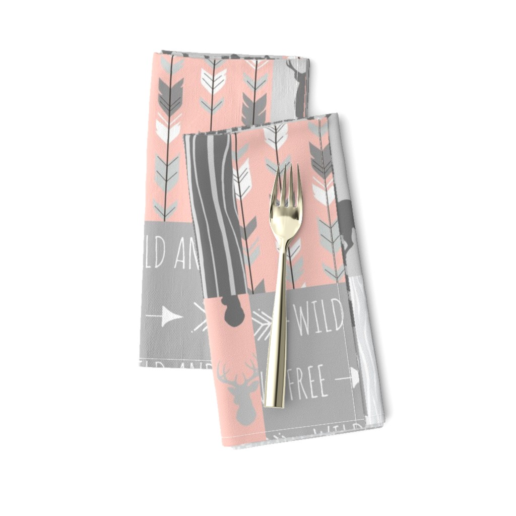 Amarela Dinner Napkins featuring Wholecloth Quilt- Coral  and Grey Deer a Patchwork  Squares by sugarpinedesign
