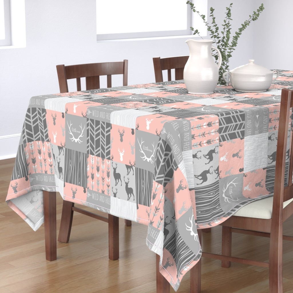 Bantam Rectangular Tablecloth featuring Wholecloth Quilt- Coral  and Grey Deer a Patchwork  Squares by sugarpinedesign