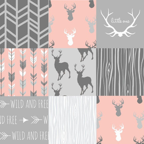 Wholecloth Quilt- Coral  and Grey Deer a Patchwork  Squares