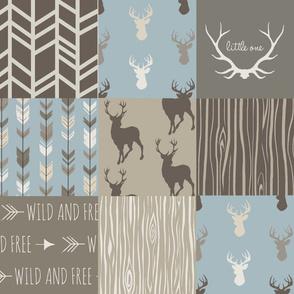 Wholecloth Quilt- Taupe and Blue -Deer Antlers a patchwork Quilt - Woodland neutrals - Hunting