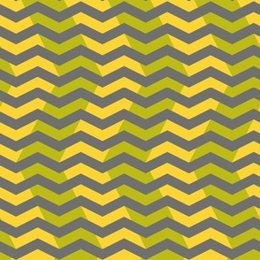 wavy chevron - grey, lime and yellow