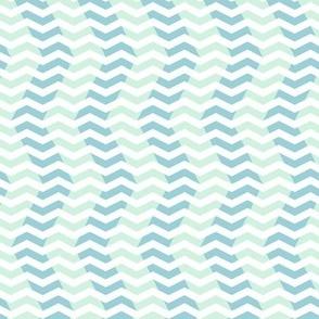 wavy chevron - light blue, mint and white