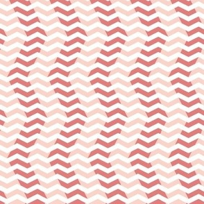 wavy chevron - coral, pink and white