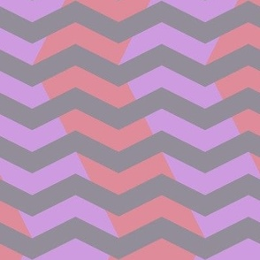 wavy chevron in grey, lavender and pink