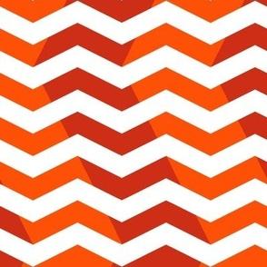 wavy chevron in red , orange and white