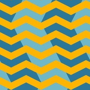 wavy chevron - gold and teal