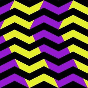 wavy chevron - purple, black and yellow