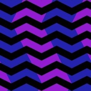 wavy chevron in blue, black and purple