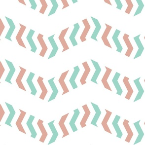 zebra chevron - pink and mint