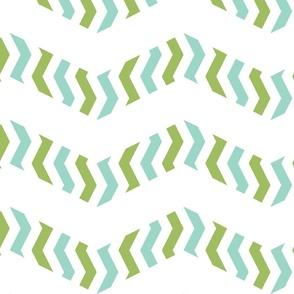 zebra chevron - aqua and green