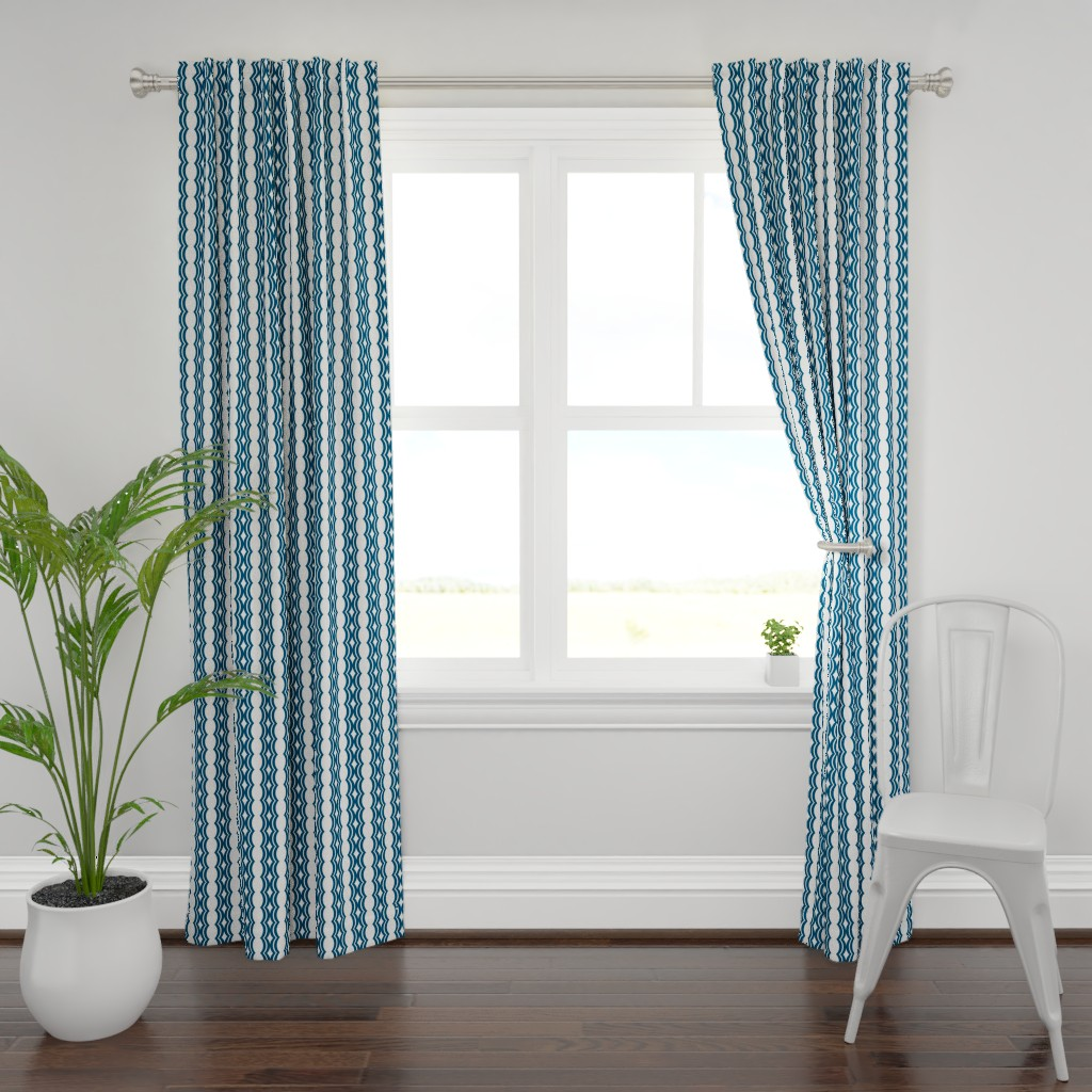 Plymouth Curtain Panel featuring wavy_lines_dk blue by boxwood_press