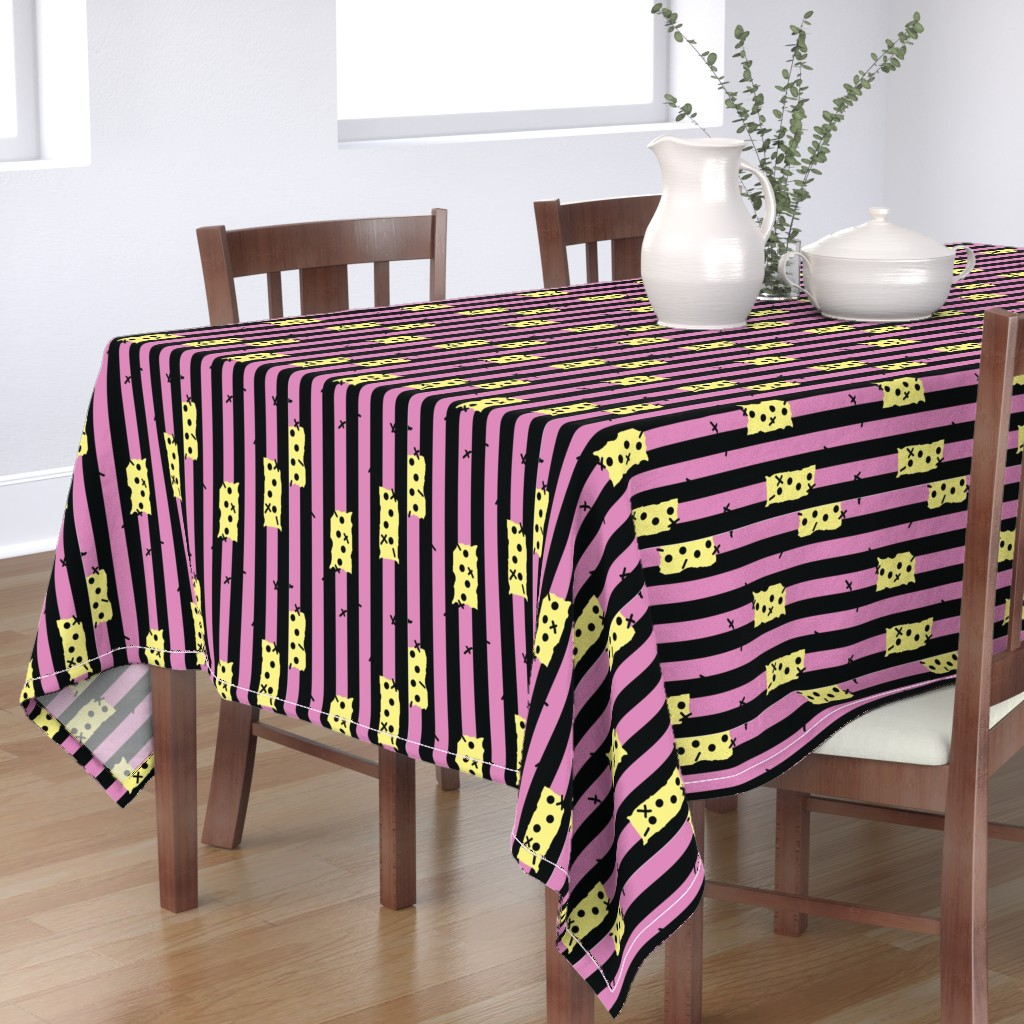 Bantam Rectangular Tablecloth featuring Sally Inspired Pattern Pink and Black  by lanrete58