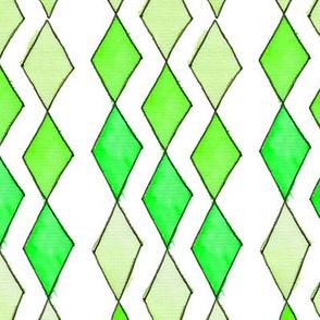 Bowling Diamonds - green hues vertical