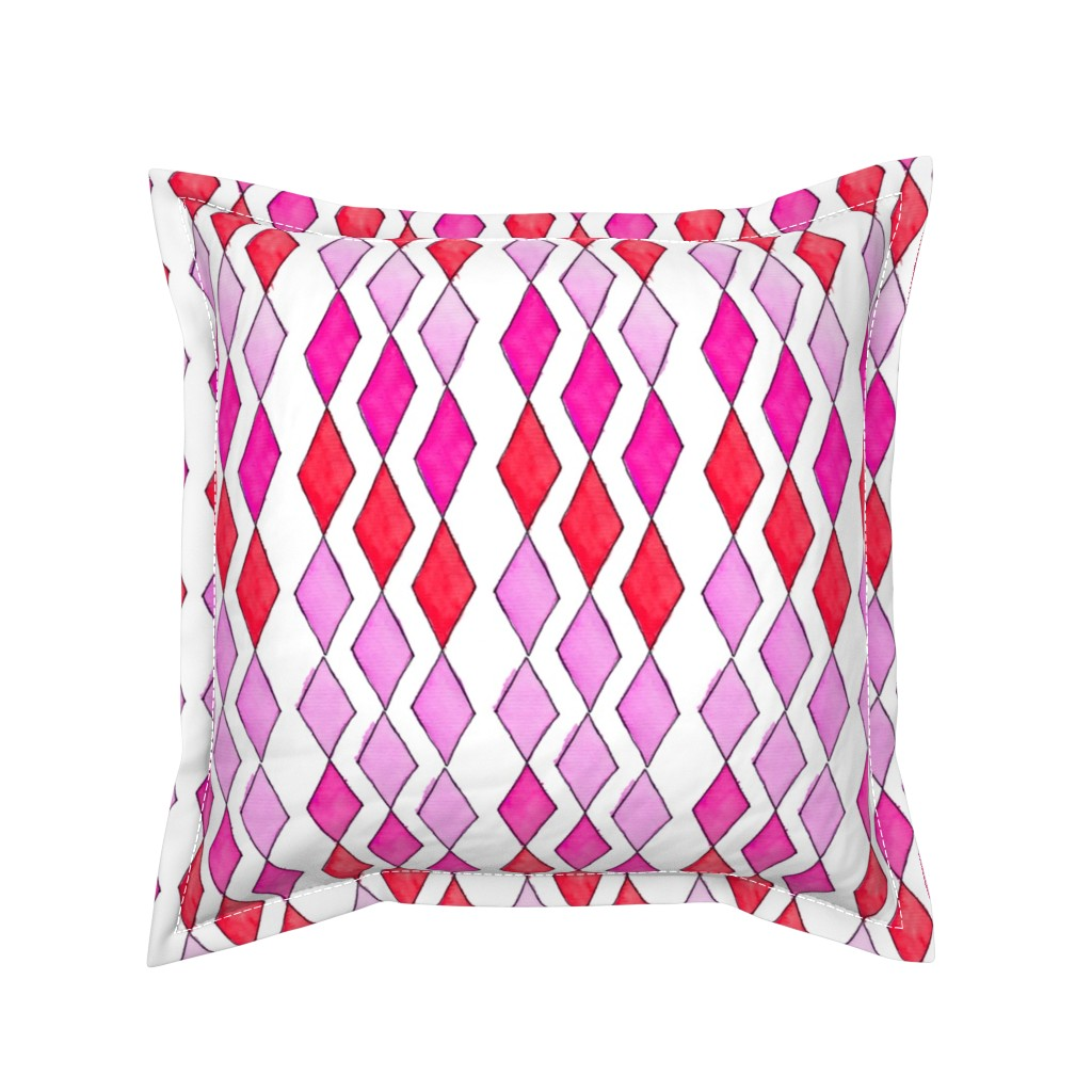 Serama Throw Pillow featuring Bowling Diamonds - rose hues vertical by designergal