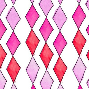 Bowling Diamonds - rose hues vertical