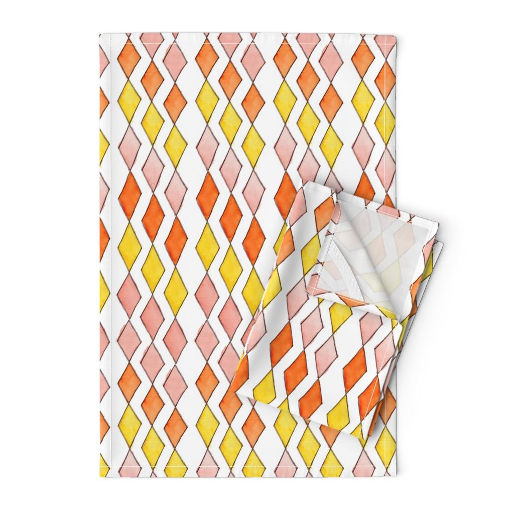 Orpington Tea Towels featuring Bowling Diamonds - blush hues vertical by designergal