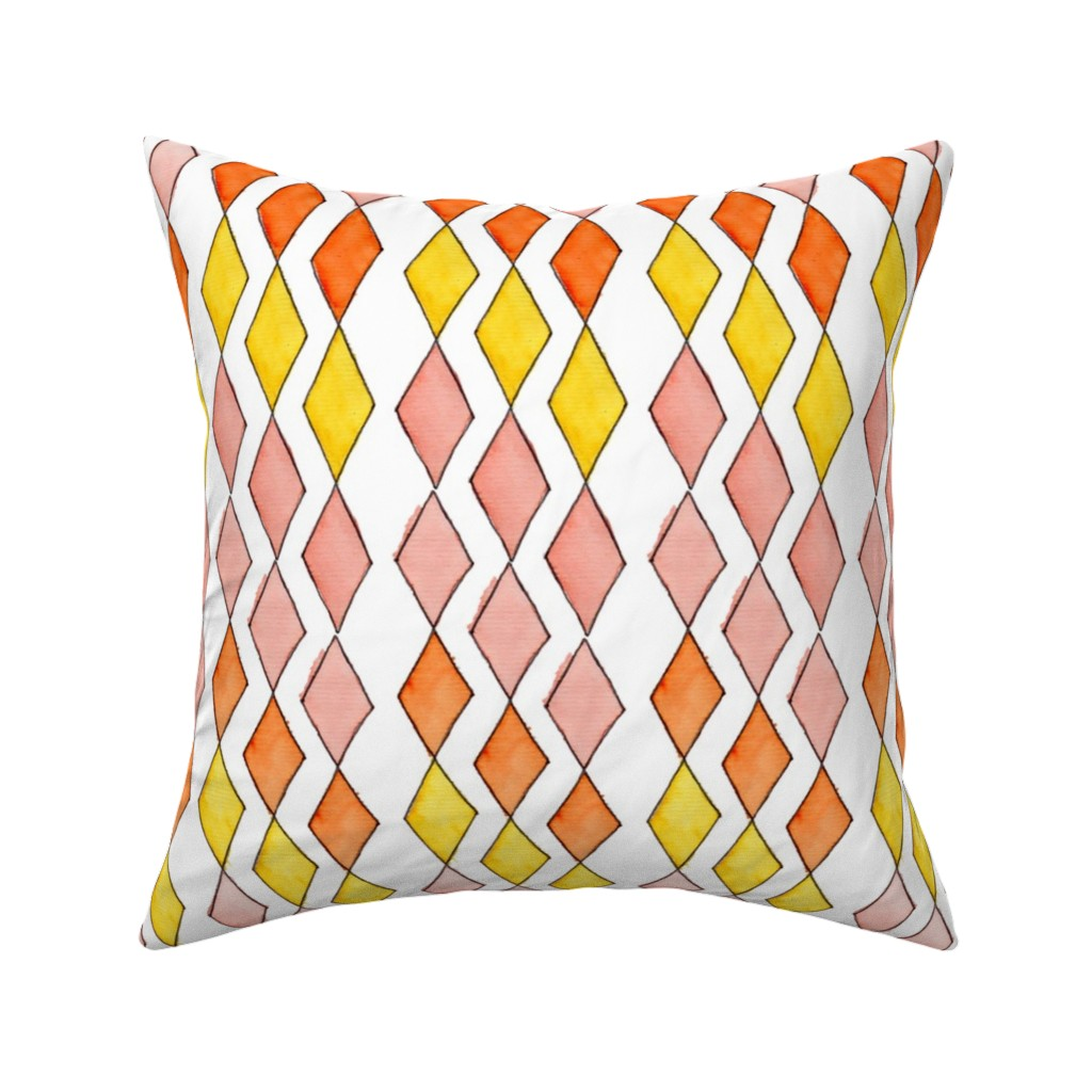 Catalan Throw Pillow featuring Bowling Diamonds - blush hues vertical by designergal