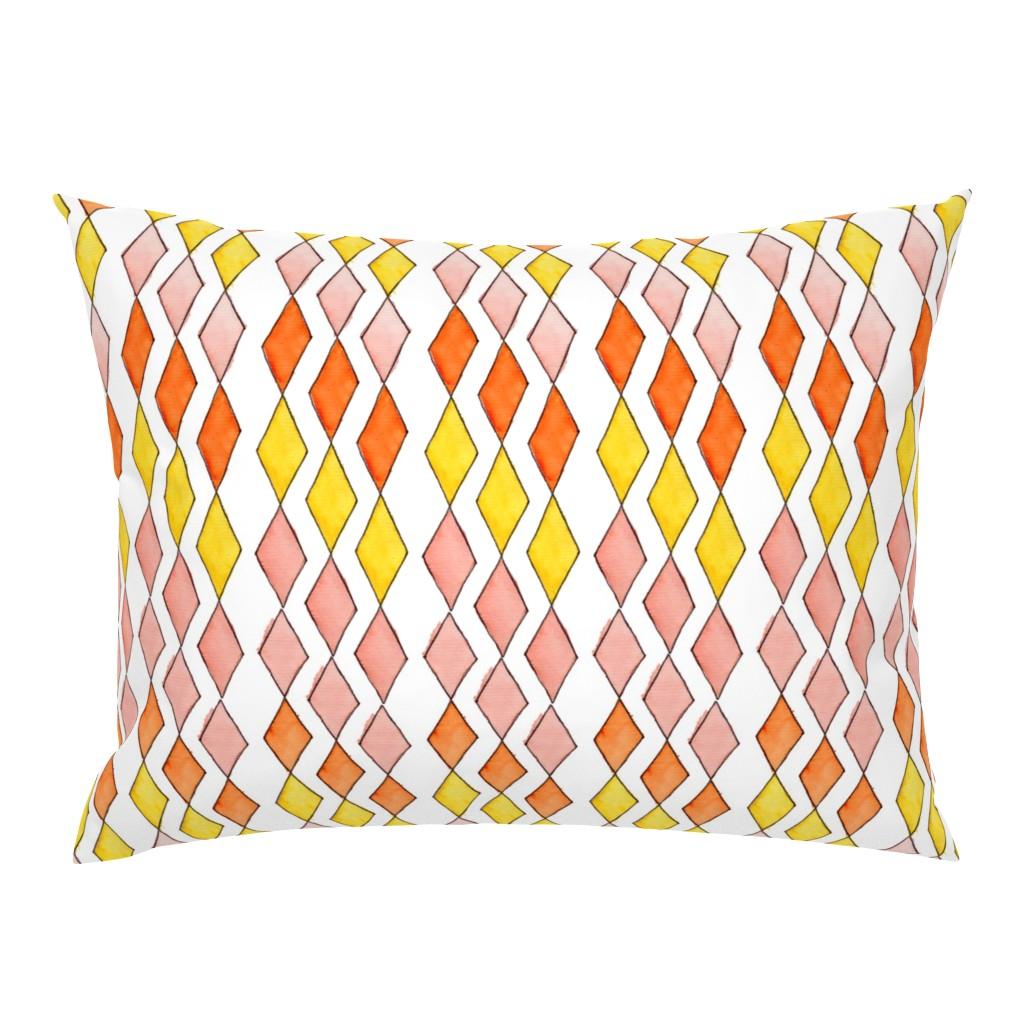 Campine Pillow Sham featuring Bowling Diamonds - blush hues vertical by designergal