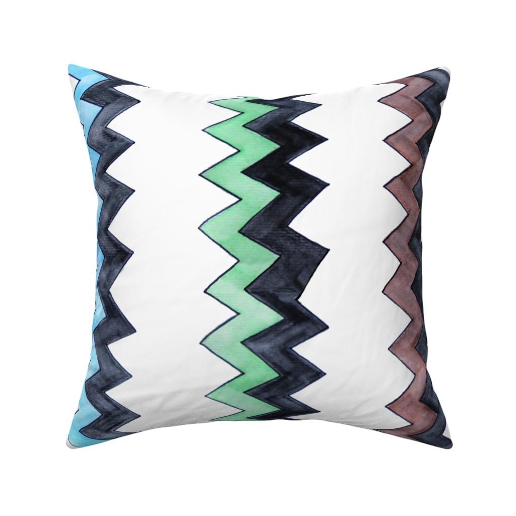 Catalan Throw Pillow featuring Brown Blue Green Black Zigs - vertical by designergal