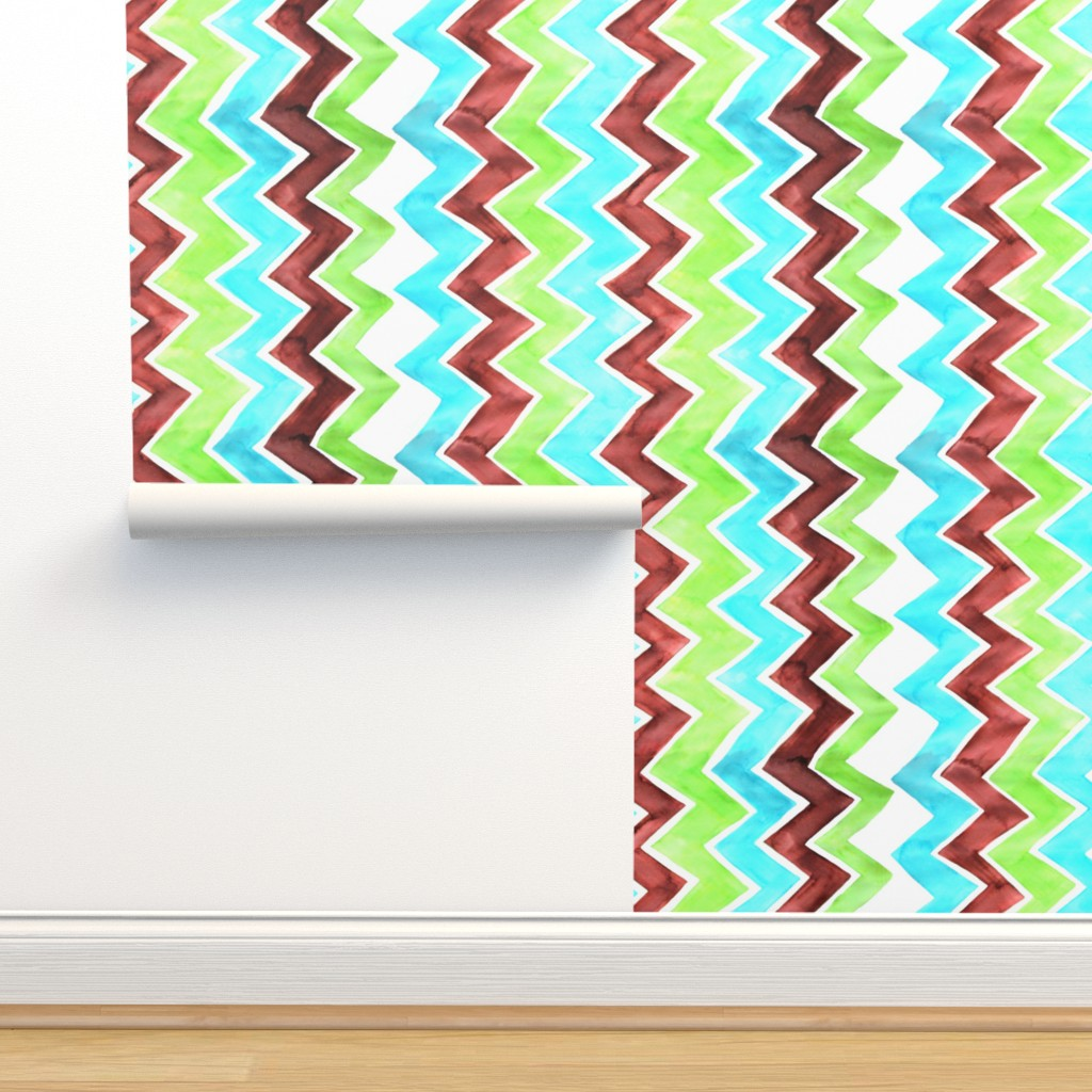 Isobar Durable Wallpaper featuring Brown Lime Aqua Zigzag - vertical by designergal