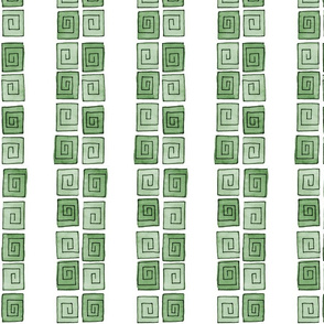 Greek Spiral - green mono vertical