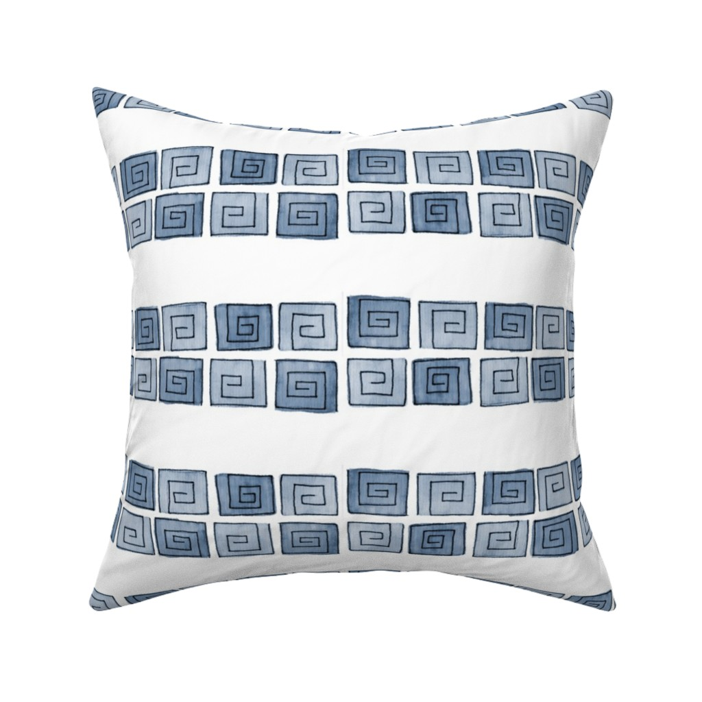 Catalan Throw Pillow featuring Greek Spiral - blue-grey mono by designergal