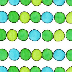 Green Gold Aqua Ball Stripe