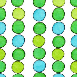 Green Gold Aqua Ball Stripe - vertical