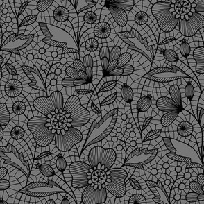 Floral lace (black on gray)