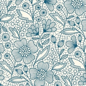 Floral Lace (blue on off-white)