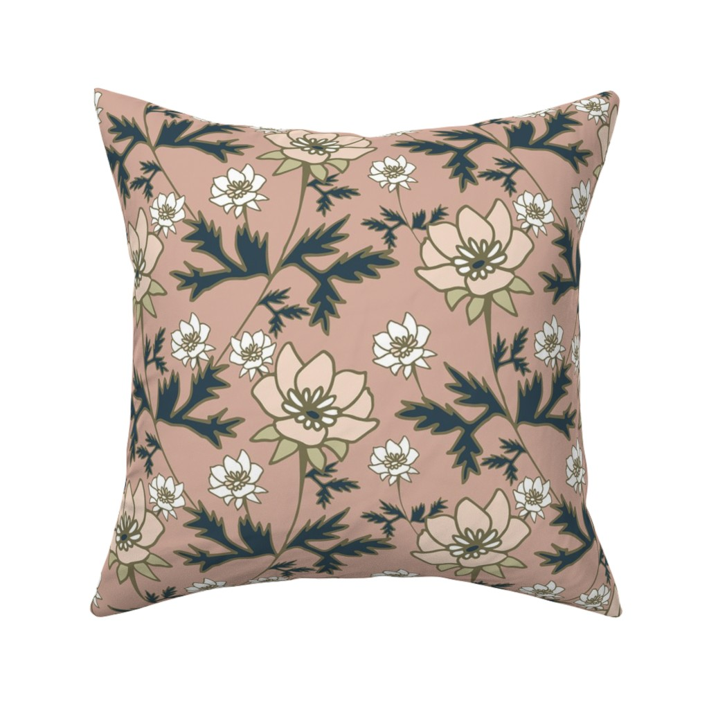 Catalan Throw Pillow featuring Prairie Wildflowers Dusty Rose by kirstenkatz