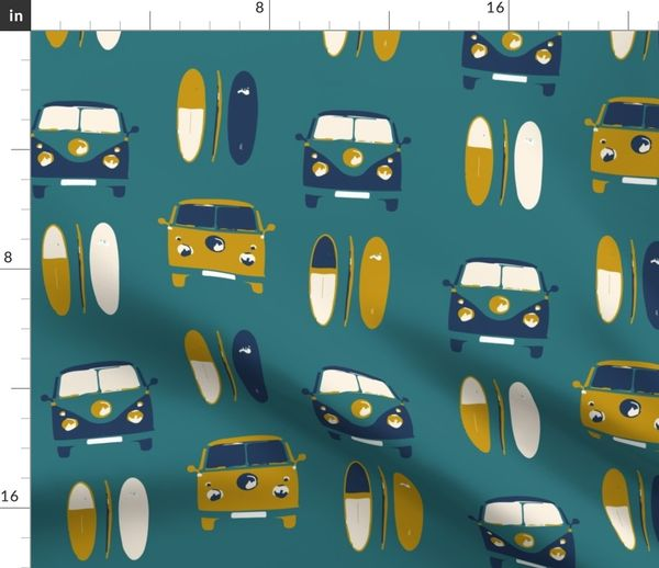 Hand Made VW Camper Mint Green fabric Cushion Cover