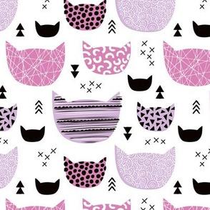 Inky texture kittens and cats fun print with geometric abstract details violet girls