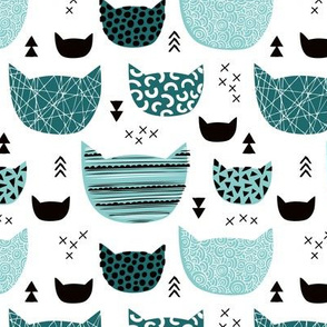 Inky texture kittens and cats fun print with geometric abstract details winter ice blue
