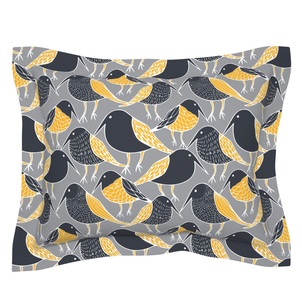 Sebright Pillow Sham featuring Black Birds by kirstenkatz
