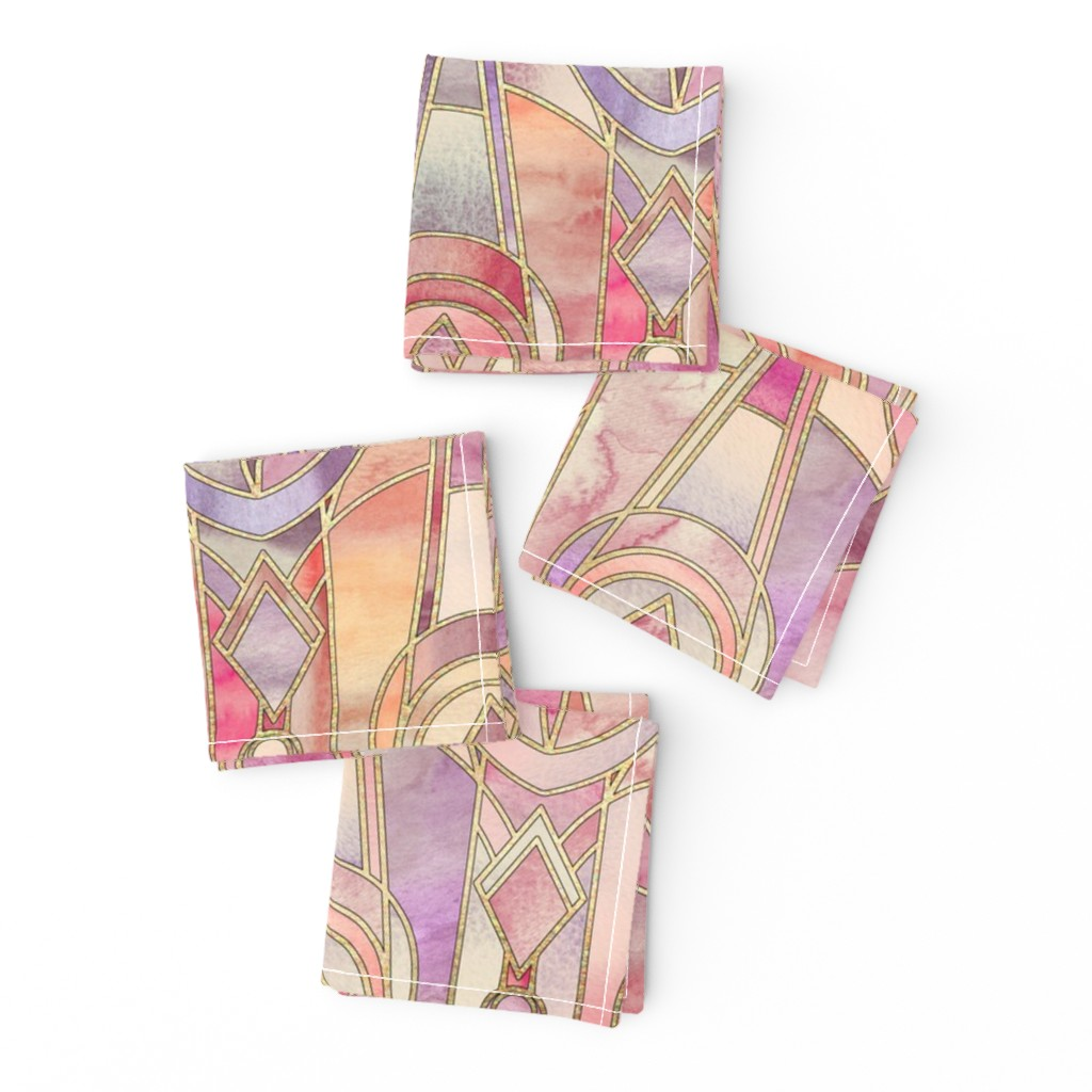 Frizzle Cocktail Napkins featuring Glowing Coral and Amethyst Art Deco - large by micklyn