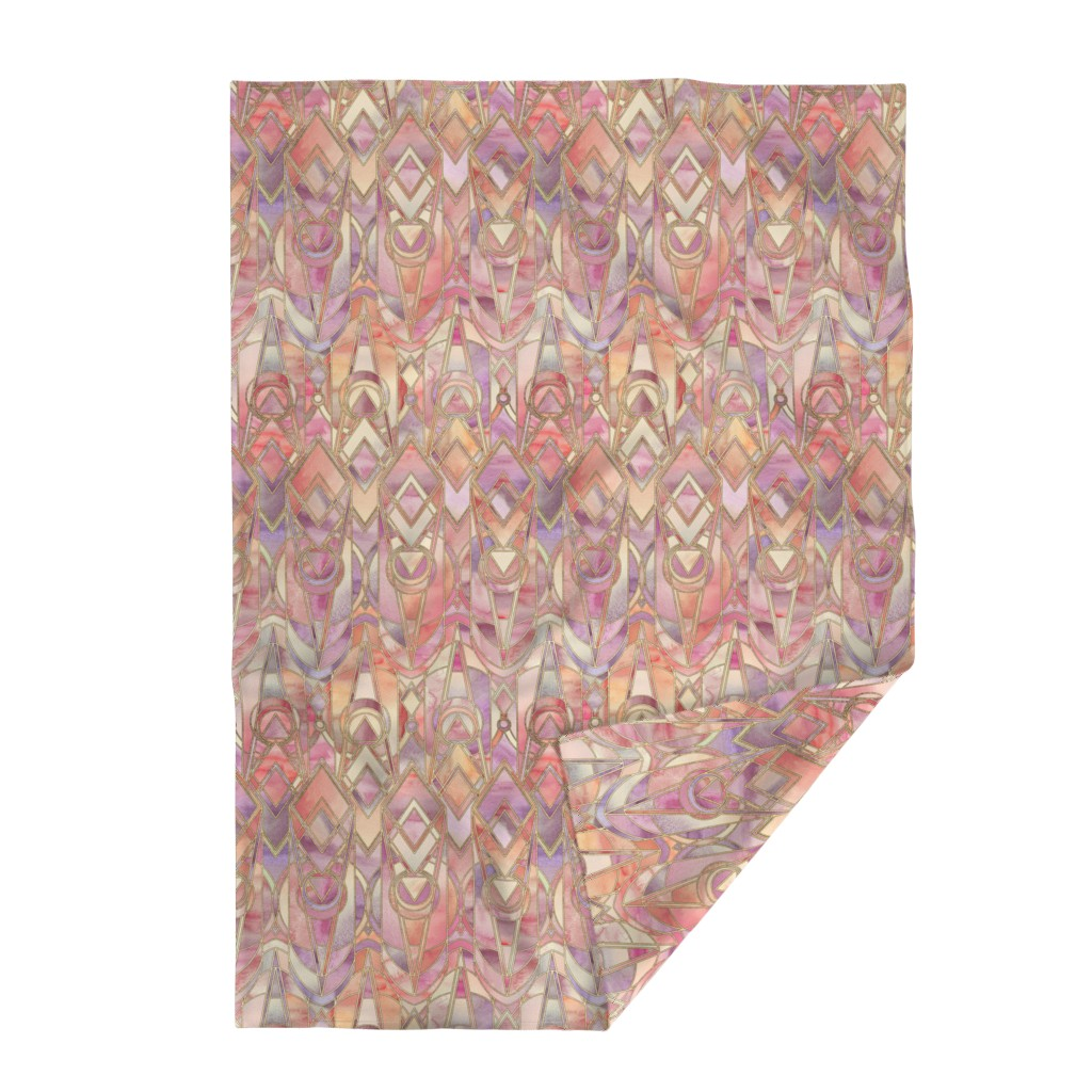 Lakenvelder Throw Blanket featuring Glowing Coral and Amethyst Art Deco - large by micklyn