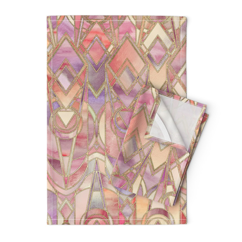 Orpington Tea Towels featuring Glowing Coral and Amethyst Art Deco - large by micklyn