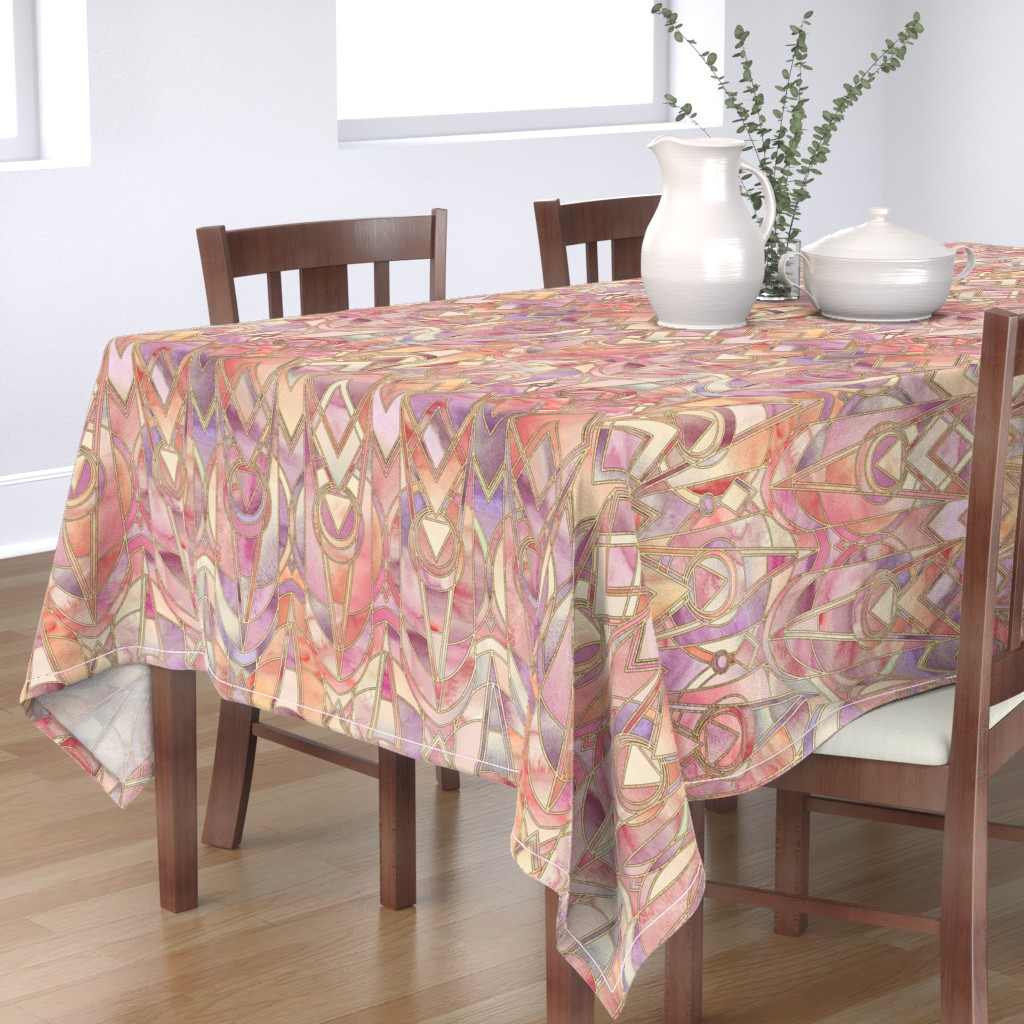 Bantam Rectangular Tablecloth featuring Glowing Coral and Amethyst Art Deco - large by micklyn