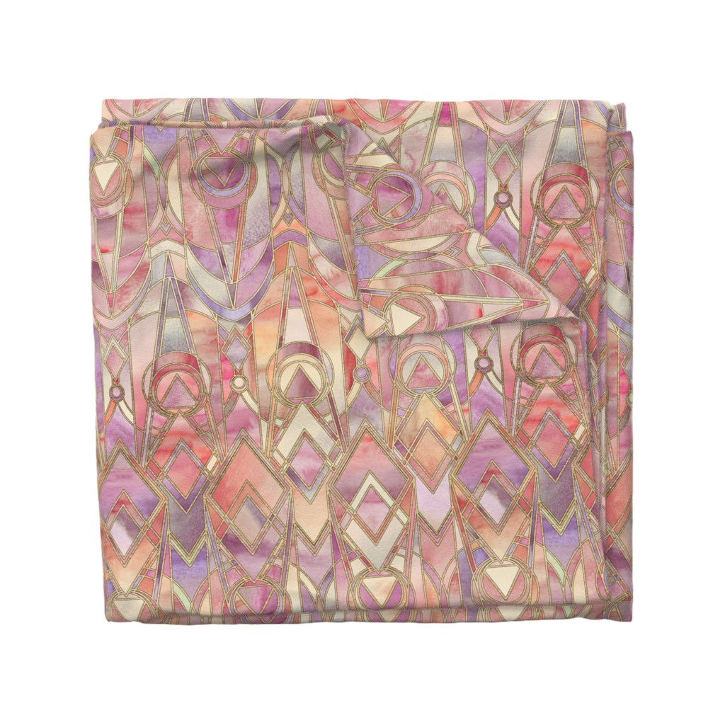 Wyandotte Duvet Cover featuring Glowing Coral and Amethyst Art Deco - large by micklyn